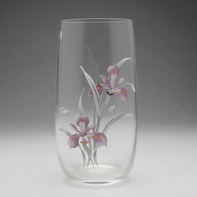 Bohemia Crystal Vase with Applied Flowers