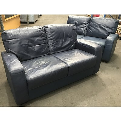 Two Blue Plush PU Leather 2 Seater Lounges