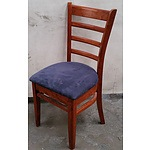 Suede & Stained Timber Chair - Lot Of 4