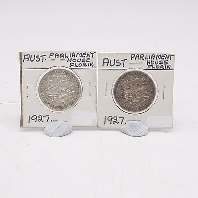 Two 1927 Silver Australian Parliament House Florins