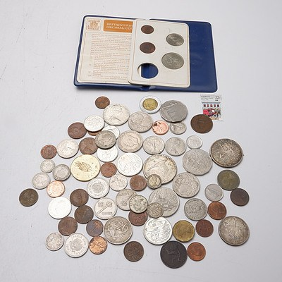 Group of Australian and International Coins, Including Australian 1966 50 Cent Coin, Canada 1966 and 1967 Dollar