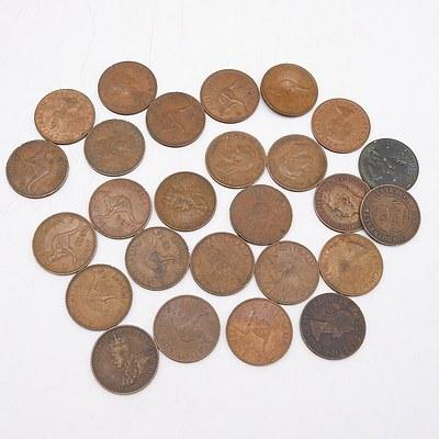 Group of Australian Pennies 1911-1964