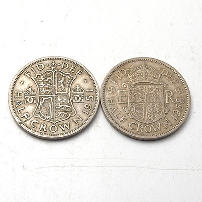 1958 and 1951 Half Crown