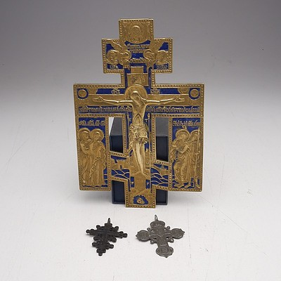 Brass and Enamel Russian Orthodox Cross and Two Antique Crosses