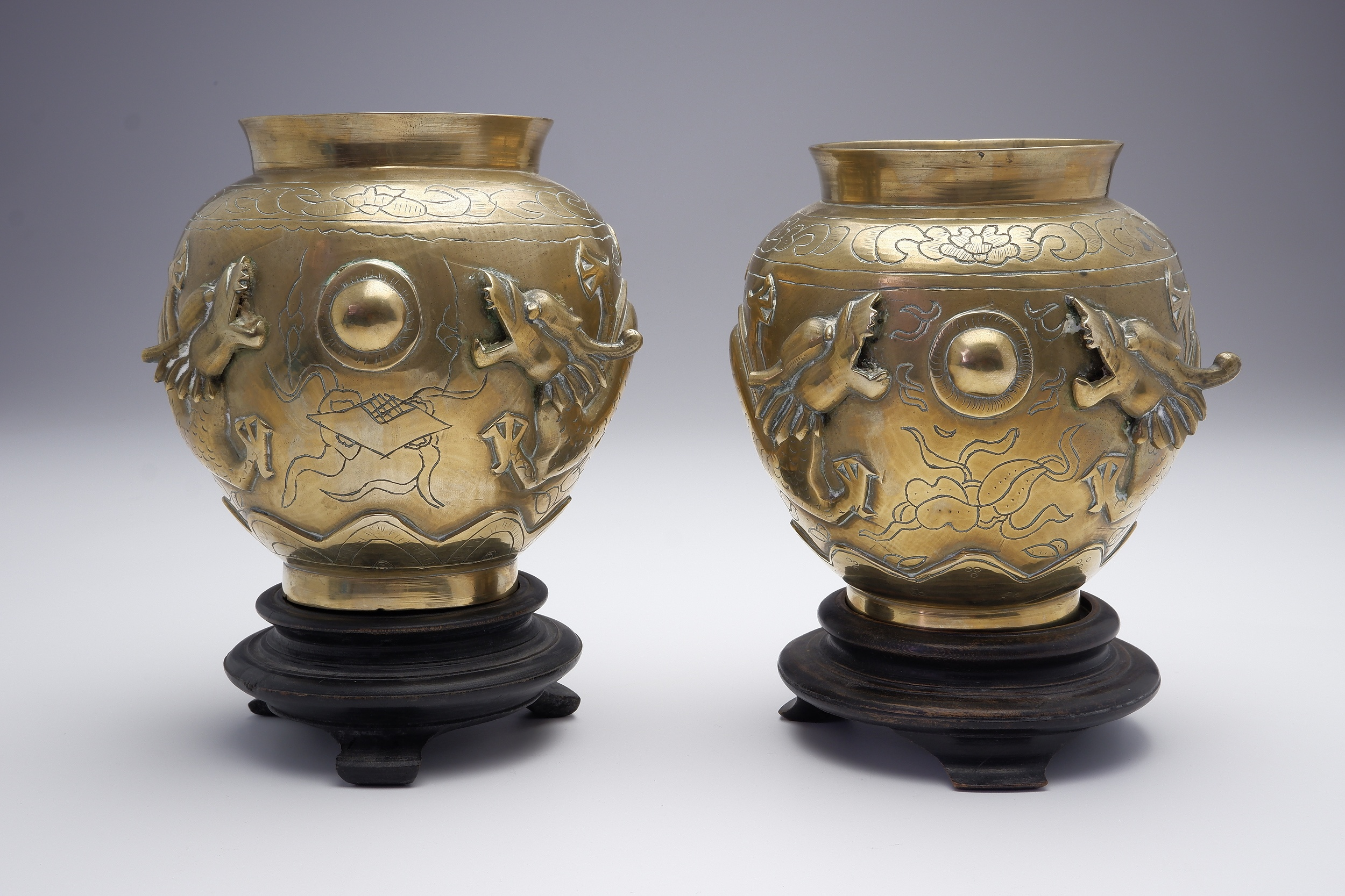 'Pair of Chinese Cast and Engraved Brass Dragon Vases, Late 19th Century'