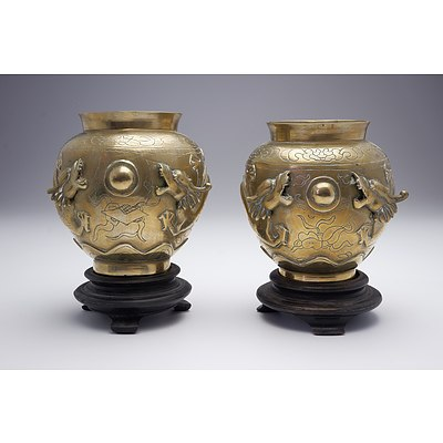 Pair of Chinese Cast and Engraved Brass Dragon Vases, Late 19th Century