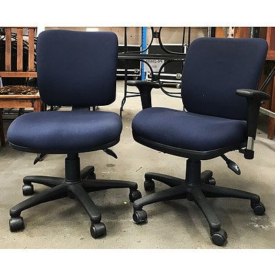 Navy Blue Task Chairs - Lot of 2 - Ex Demonstration Models