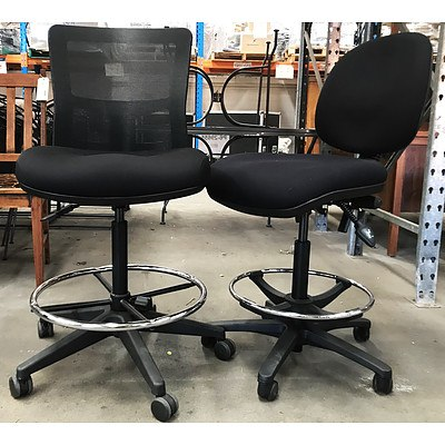 Duro Black Draft Chairs - Lot of 2 - Ex Demonstration Models