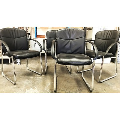 Duro Black PU Leather Chairs - Lot of 4 - Ex Demonstration Models