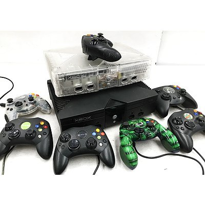Two Original XBOX Consoles with Controllers, Cables & Over 60 Games