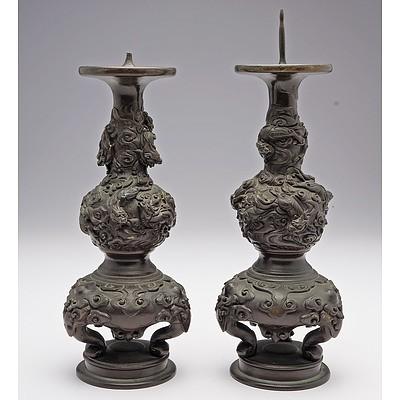Pair of Japanese Cast Bronze Dragon Candlesticks Meiji Period 1868-1912
