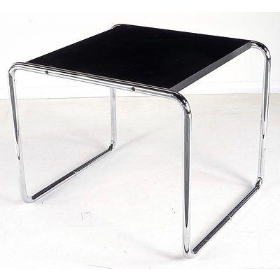 Marcel Breuer Style Chromed Tubular Steel Side Table