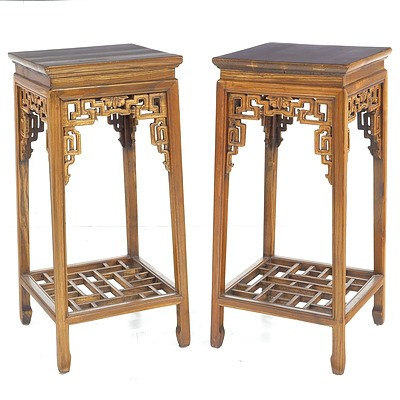 Pair of Carved Elm Chinese Pedestals Late 20th Century