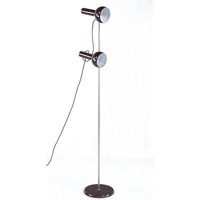 Brown 1970's Twin Head Standard Lamp