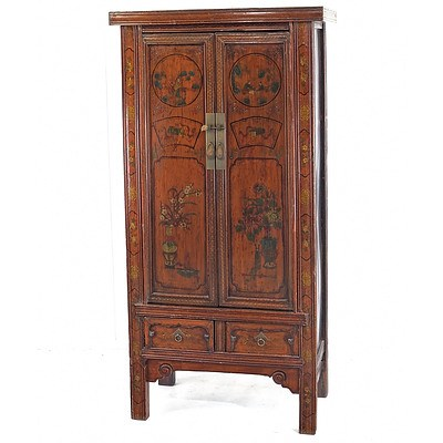 Chinese Polychrome Lacquered Tall Cabinet, Late 20th Century