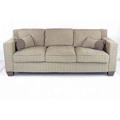 Whisky Collins Three Seater Sofa and Armchair in Green Tartan and Red Jacquard