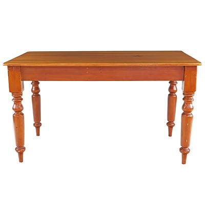 Antique Kauri Pine Country Kitchen Table with Turned Legs