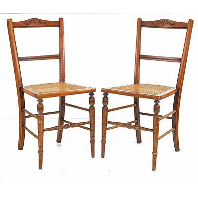 Three Edwardian Cane Seated Occasional Chairs Early 20th Century