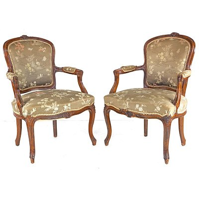 Pair of French Louis Style Carved Beech Bergeres with Satin Brocade Upholstery, Mid 20th Century