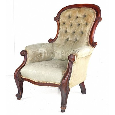 Late 19th Century Australian Cedar Salon Chair with Silk Brocade Upholstery