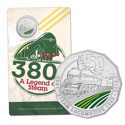 RAM 3801 A Legend of Steam 2018 50c Coloured  Uncirculated Coin