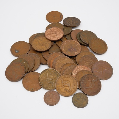 Forty Four Australian Pennies Ranging from 1939-1952 and Two 2 Cent Coins