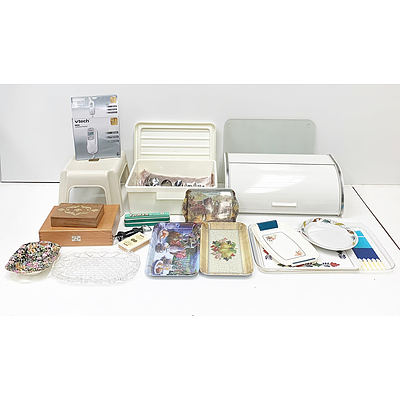 Assorted Homewares Including Vtech Phone, Serving Trays, Harmonica, Cutlery and More