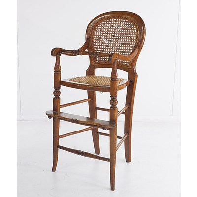 Antique Beech and Cane Childs Highchair Late 19th Century