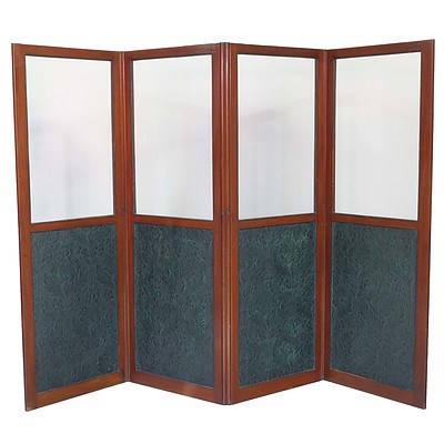 Good Victorian Mahogany and Glass Fourfold Screen with Embossed Floral Pattern Parchment Panels Circa 1900