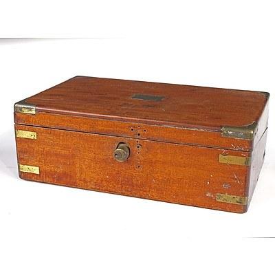 Victorian Brass Bound Mahogany Writing Box, Late 19th Century
