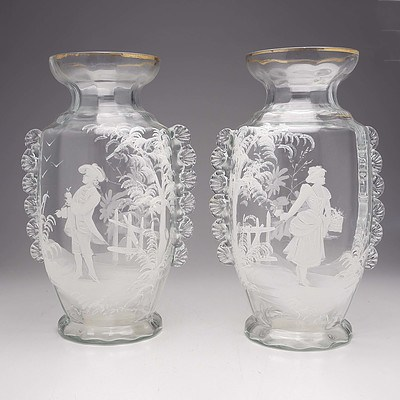 Pair of Victorian Mary Gregory Glass Vases with Rigaree Trailing