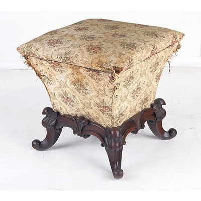 Unusual Victorian Rosewood Stool with Hinged Top Circa 1880