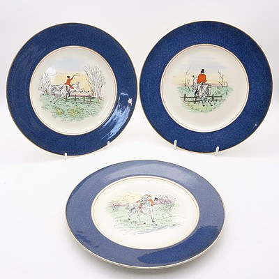Group of Six Antique Burleigh Hunting Scene Plates