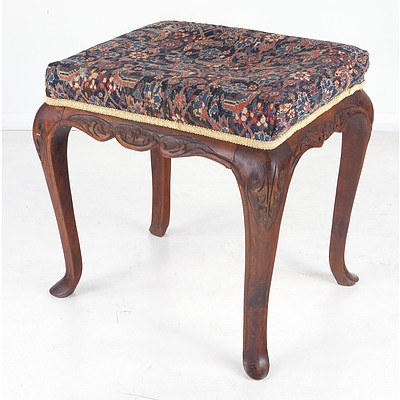 Antique Walnut Stool Upholstered with an Antique Persian Flatweave Rug Fragment