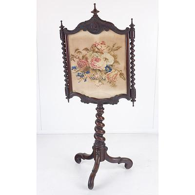 Victorian Mahogany Fire Pole with Tapestry Screen Circa 1880