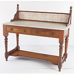 Large Edwardian Mahogany Tile Back and Marble Top Washstand Early 20th Century