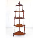 Late Victorian Mahogany Corner Whatnot with Pierced Gallery Circa 1890