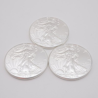 Three 2011 United States of America 1 oz Fine Silver $1 One Dollar Coins