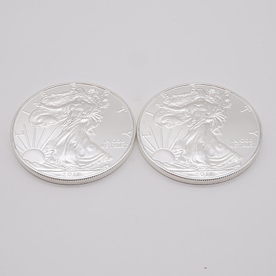 Two 2011 United States of America 1 oz Fine Silver $1 One Dollar Coins