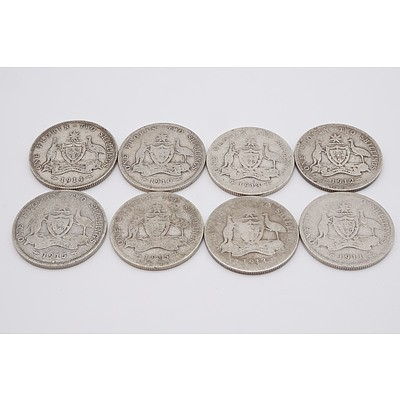 Eight Australian George V Florins, 1910, 1911, 1912, 1913, 1914 and 1915