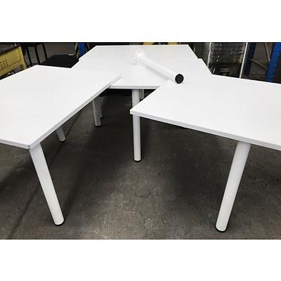 White Melamine Tables - Lot of 4