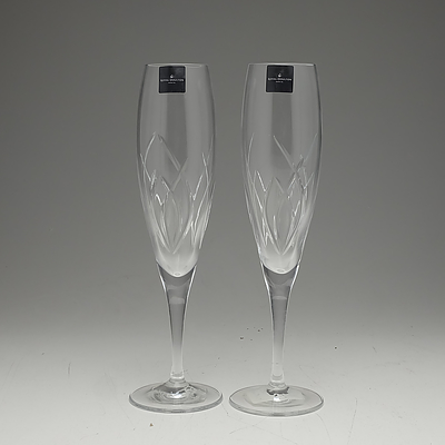 Pair of Royal Doulton Symphony Crystal Champagne Flutes