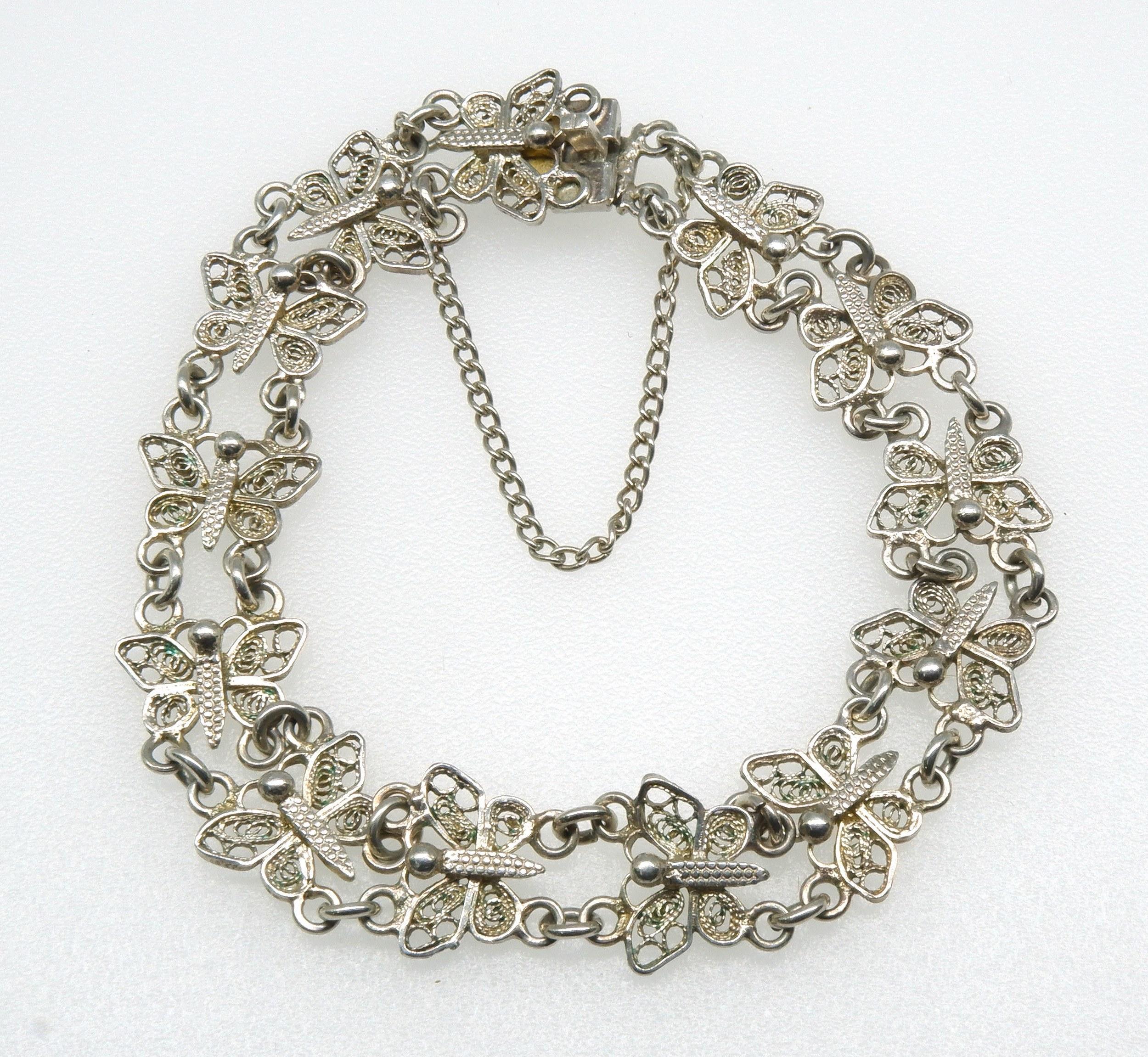 '800 Silver Butterfly Double Link Bracelet'