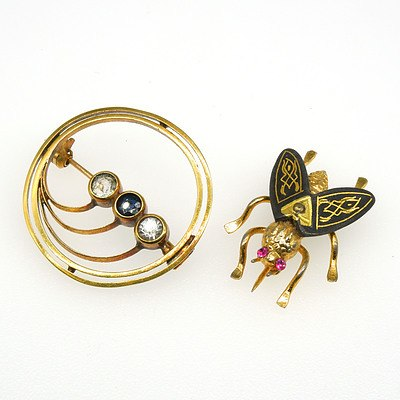 Costume Jewellery Fly and Brooch