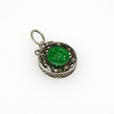 14ct White Gold Round Fancy Box Pendant with Engraved Finish with Centre of Flat Button of Carved Jade (jadeite) on a Silver Scroll Chain