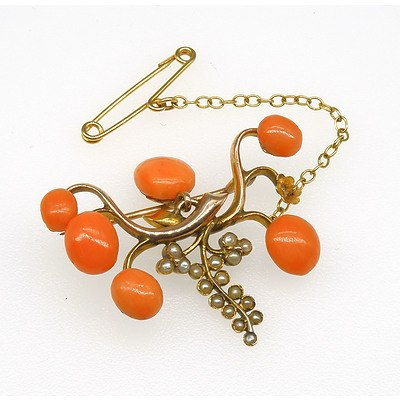14ct Yellow Gold Pale Orange Natural Coral and Seed Pearl Gape Vine Designed Brooch