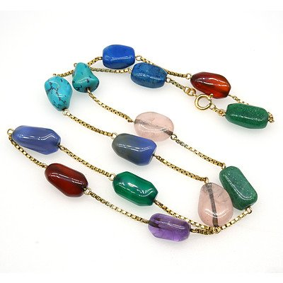 18ct Yellow Gold Box Chain with Fourteen Tumbled Natural Gem Stone Links
