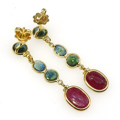 18ct Yellow Gold Australian Blue/Green Parti Sapphire and Ruby Drop Earrings