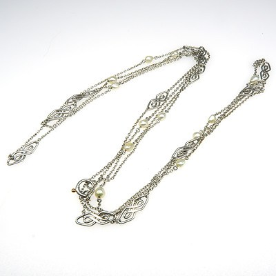 Art Deco Platinum Fine Muff Chain with Natural Pearls, 24.3g