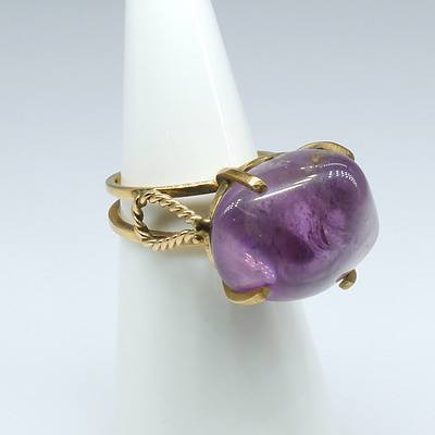 9ct Yellow Gold and Freeform Amethyst Ring in Four Claws